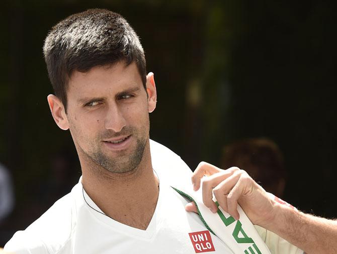 Novak Djokovic of Serbia arrives at the Wimbledon