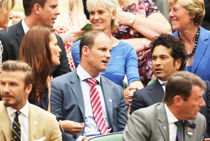 Andrew Strauss and Sachin Tendulkar in the Royal box; David Beckham is seated in front