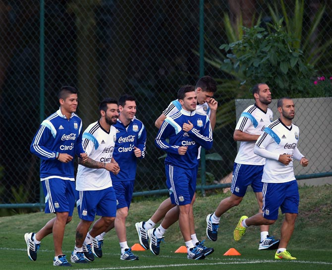 Argentina's players during a training session