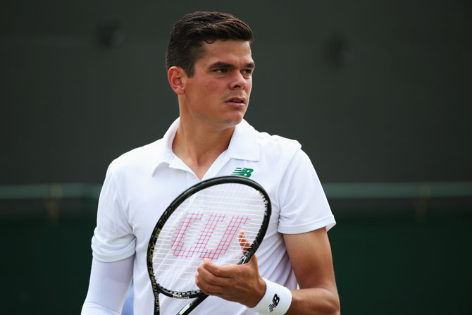 Milos Raonic of Canada in action