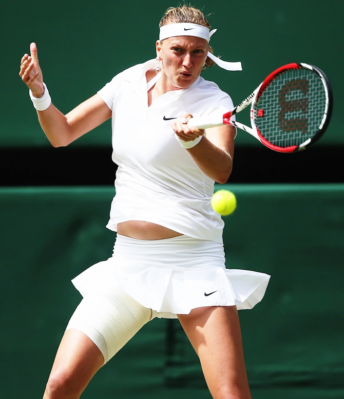 Petra Kvitova of Czech Republic plays a forehand return during her Ladies' Singles semi-final match against Lucie Safarova of Czech Republic