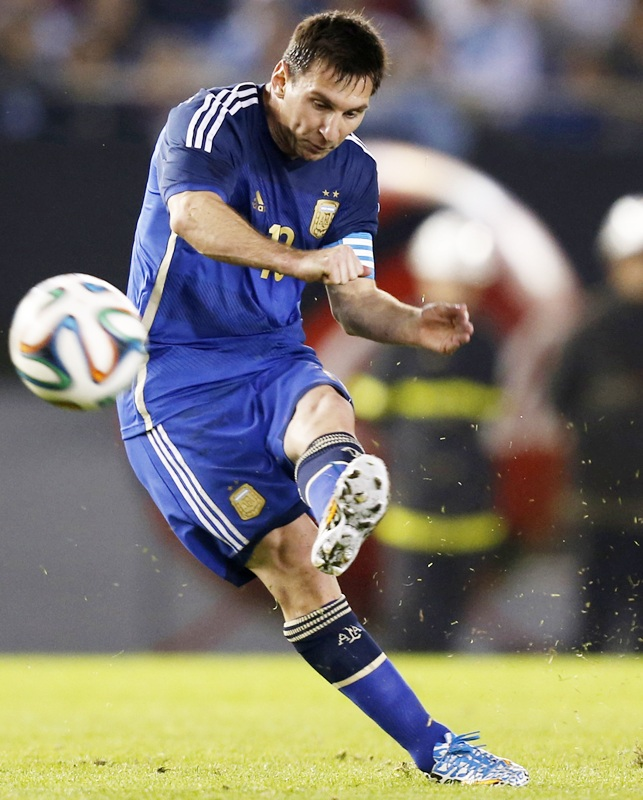 Argentina's Lionel Messi takes a free-kick
