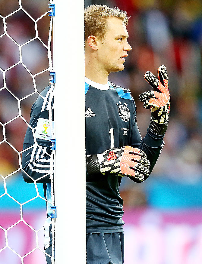 Goalkeeper Manuel Neuer of Germany gestures