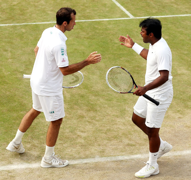 Radek Stepanek of the Czech Republic and Leander Paes of India