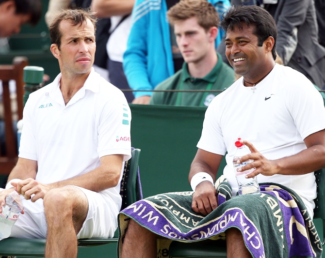 Radek Stepanek of the Czech Republic and India's Leander Paes during the doubles match