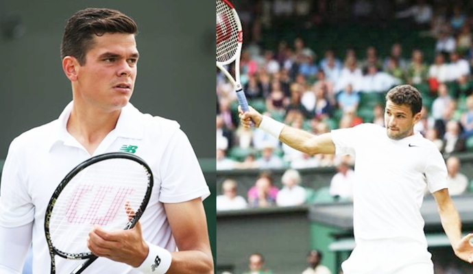 Milos Raonic of Canada and Grigor Dimitrov of Bulgaria