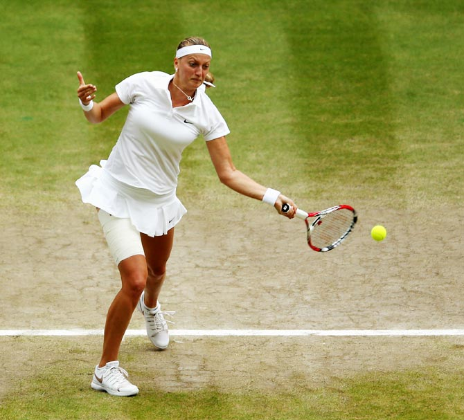 Petra Kvitova of Czech Republic plays a forehand return