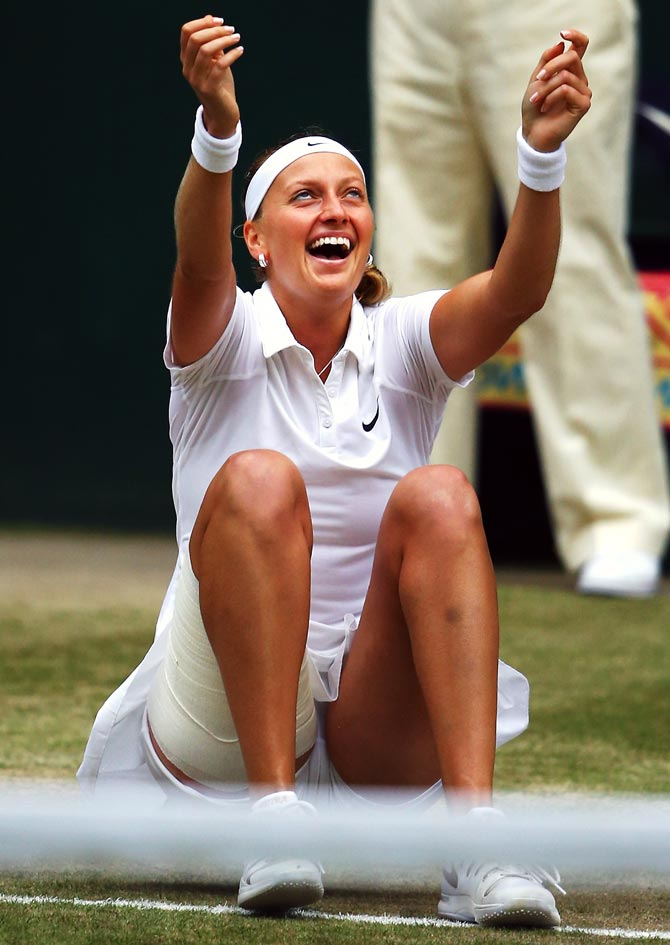Petra Kvitova of Czech Republic celebrates after winning the final