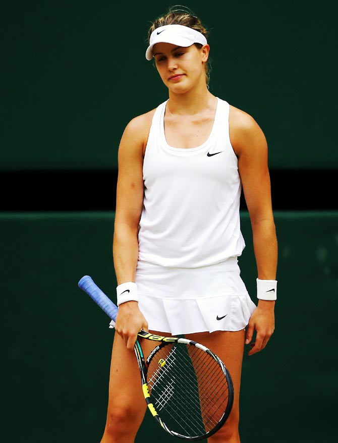 Eugenie Bouchard of Canada stands dejected