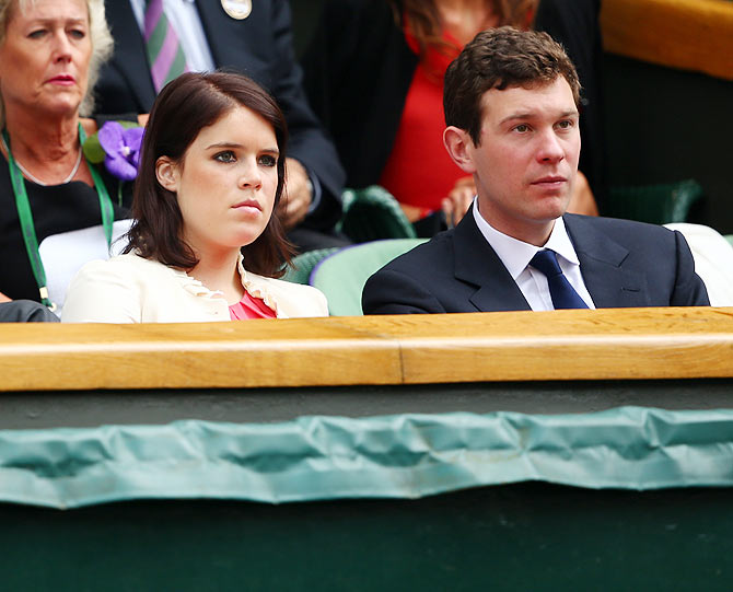 Princess Eugenie of York sits in the Royal Box on Centre Court before the Ladies' Singles final match between Eugenie Bouchard of Canada and Petra Kvitova of Czech Republic on Saturday