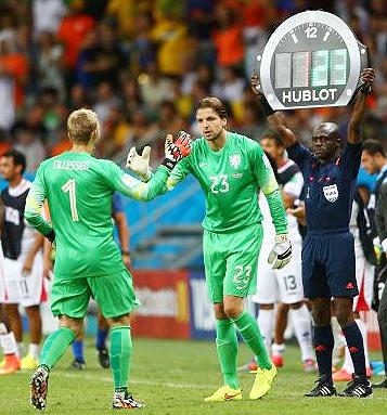Goalkeeper Tim Krul of the Netherlands enters the game for Jasper Cillessen