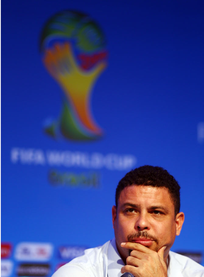 Former Brazil footballer Ronaldo attends the FIFA World Cup Ambassadors Press Conference