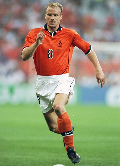 Dennis Bergkamp of Holland on the ball during the 1998 World Cup