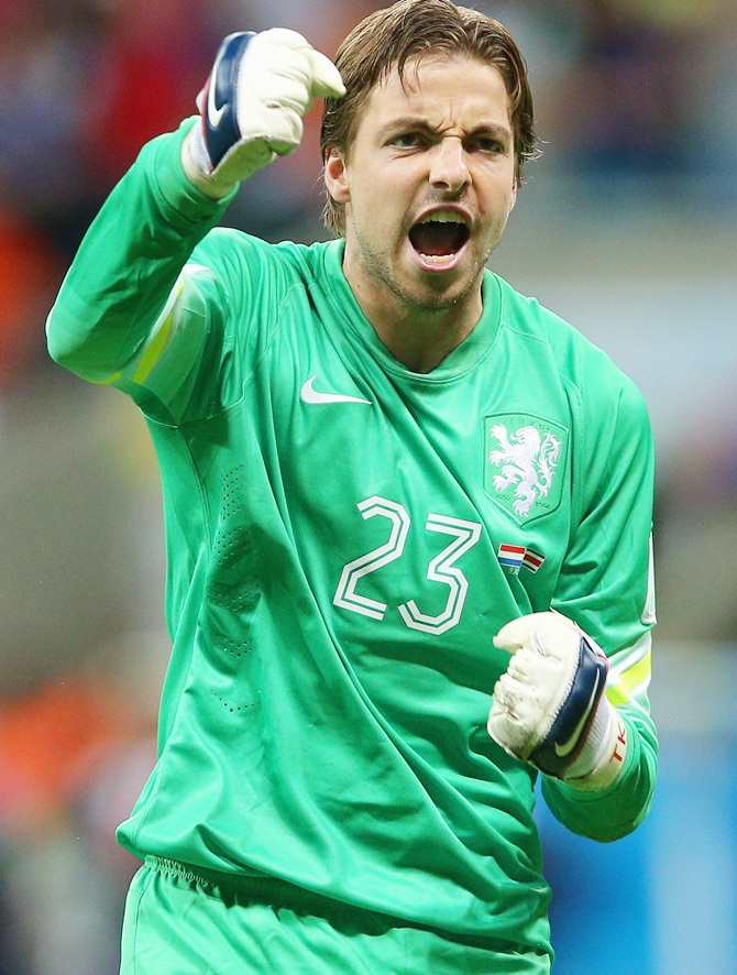 Goalkeeper Tim Krul of the Netherlands celebrates