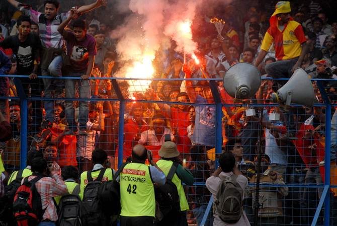 East Bengal and Mohun Bagan fans during a Kolkata derby match