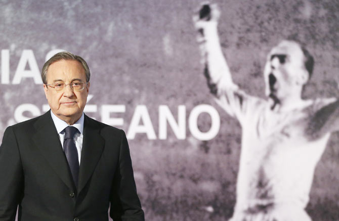 Real Madrid's president Florentino Perez leaves a news conference after the death of former Real Madrid player Alfredo Di Stefano at Santiago Bernabeu stadium in Madrid on Monday