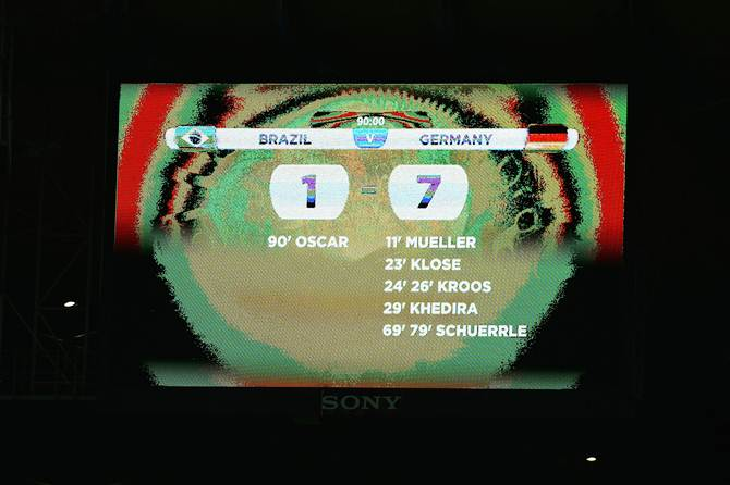 The scoreboard showing Germany's 7-1 victory over Brazil in the World cup semi-final