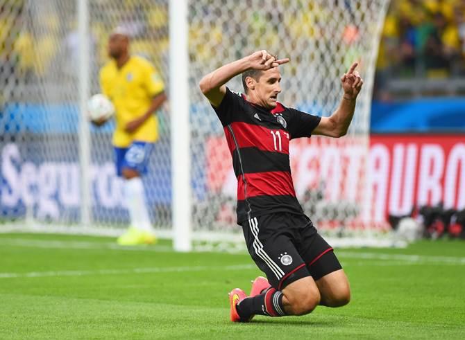 Miroslav Klose of Germany celebrates scoring his team's second goal