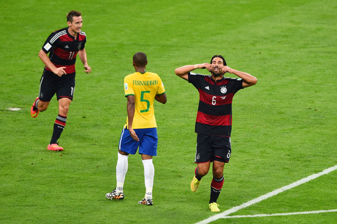 Sami Khedira of Germany celebrates scoring his team's fifth goal