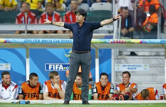 Germany's coach Joachim Loew reacts