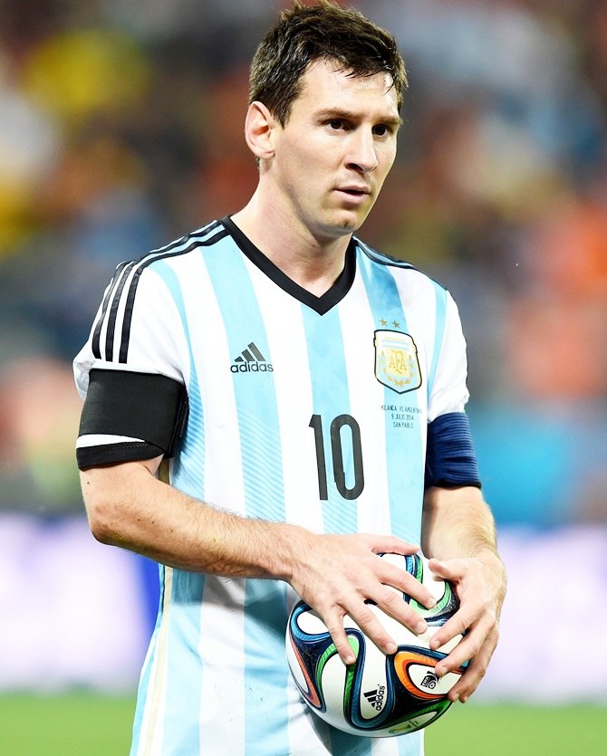 Lionel Messi of Argentina looks on during the 2014 FIFA World Cup Brazil Semi Final match against Netherlands