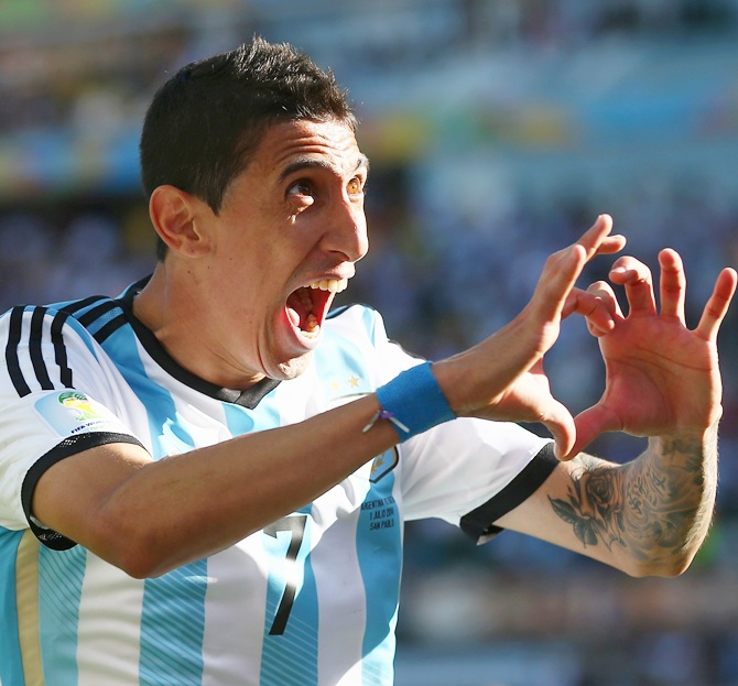Angel di Maria of Argentina celebrates scoring his team's goal in extra-time
