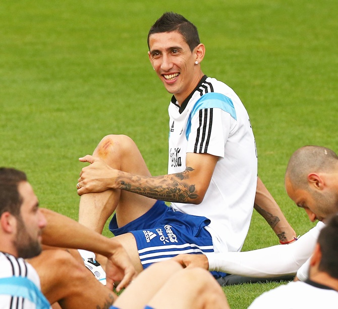 Angel di Maria of Argentina warms up during a training session