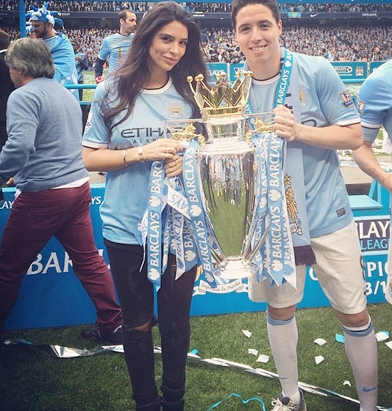 Samir Nasri with his girlfriend Anara Atanes