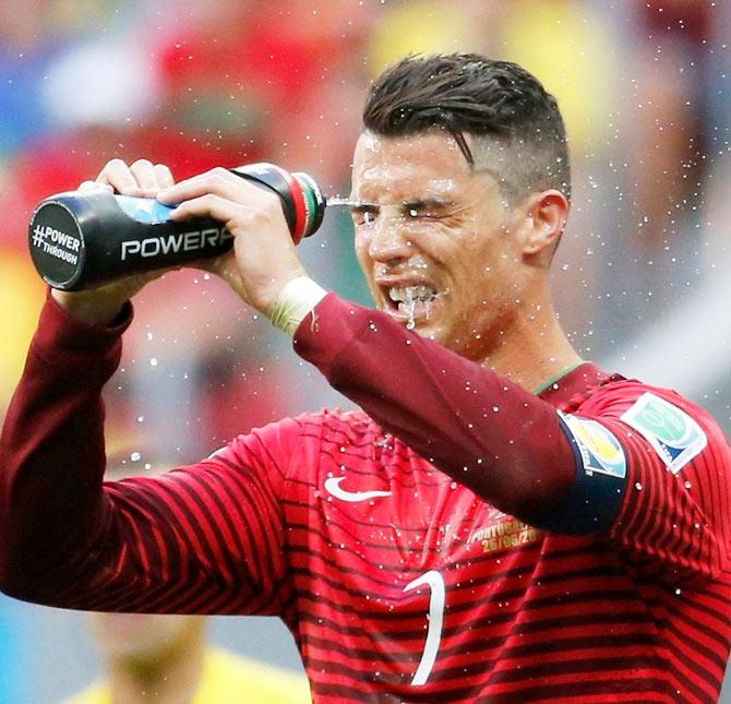 Portugal's Cristiano Ronaldo refresehes himself