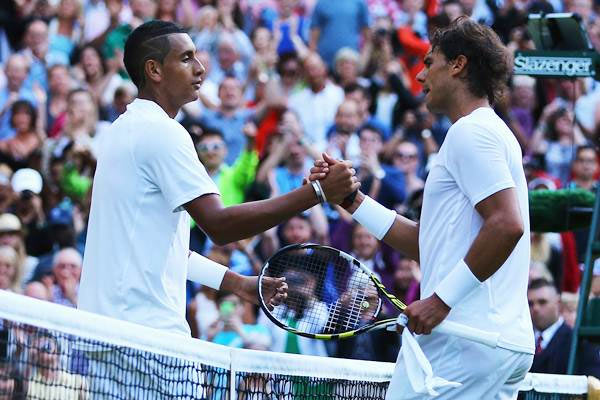 Nick Kyrgios of Australia shakes hands with Rafael Nadal of Spain after their Wimbledon match