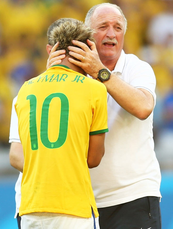 Head coach Luiz Felipe Scolari of Brazil celebrates with Neymar