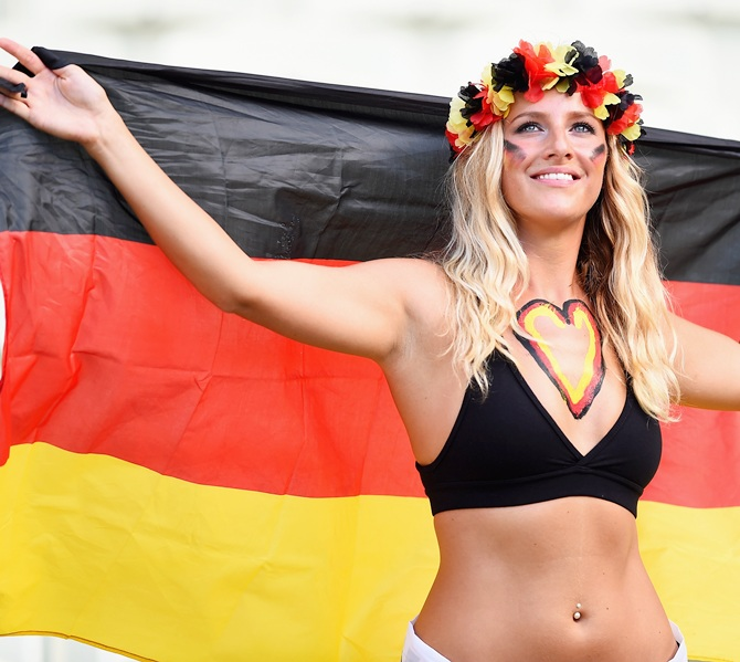 A Germany fan poses