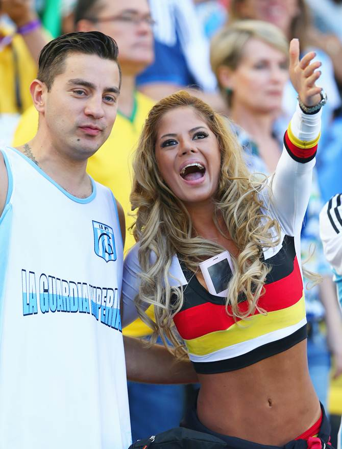 An Argentina and Germany fans prior to the World Cup Brazil final between Germany and Argentina at the Maracana