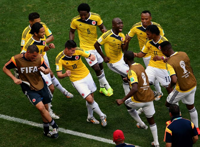 Colombia's players celebrate