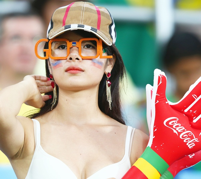 A South Korean fan looks on during the 2014 FIFA World Cup Brazil Group H match between Russia and South Korea at Arena Pantanal