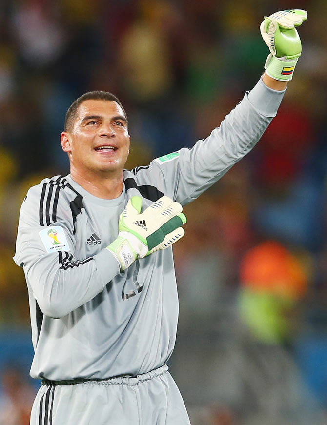 Goalkeeper Faryd Mondragon of Colombia acknowledges the fans