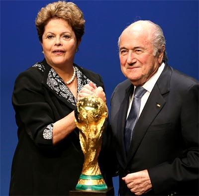 Brazil's President Dilma Rousseff (left) with FIFA president Sepp Blatter
