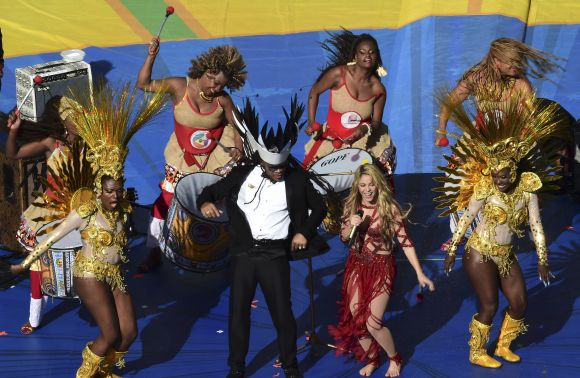 Shakira performs during the 2014 World Cup closing ceremony at the Maracana stadium