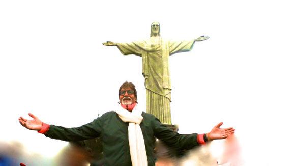Amitabh Bachchan strikes a pose at Christ the Redeemer in Rio de Janeiro