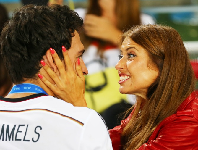 Mats Hummels of Germany celebrates with girlfriend Cathy Fischer
