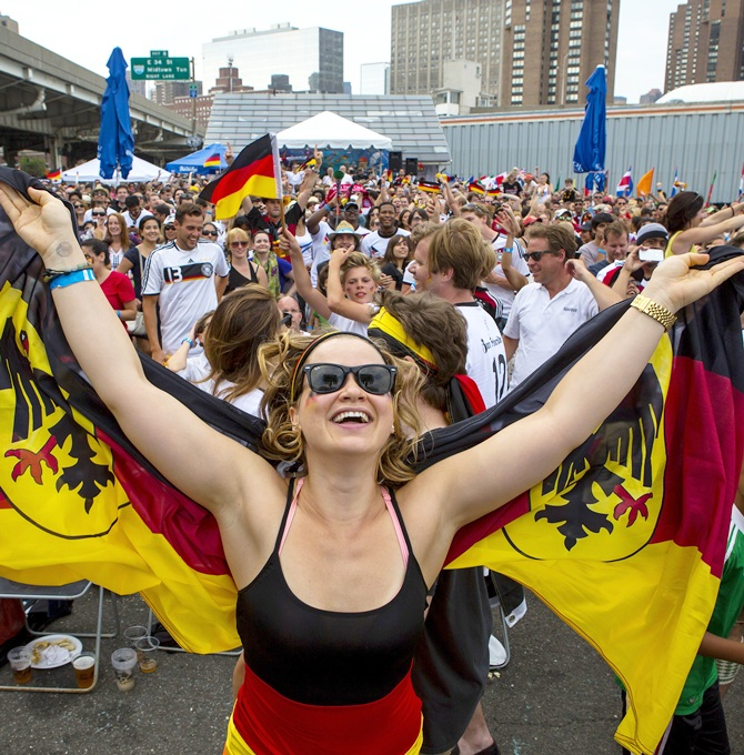 Football fans supporting the German national team celebrate