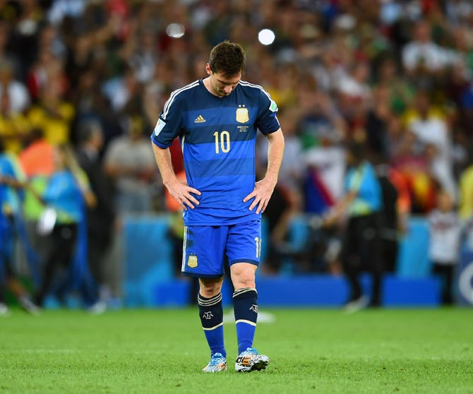 A dejected Lionel Messi of Argentina after losing to Germany in the World Cup final
