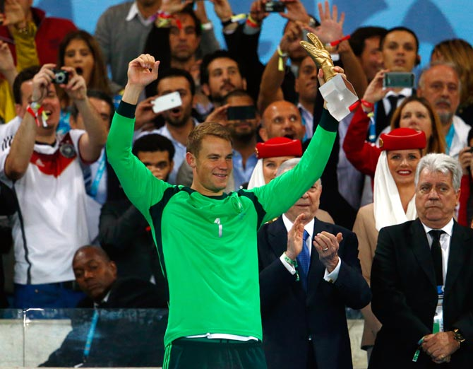 Manuel Neuer of Germany with the Golden Glove award