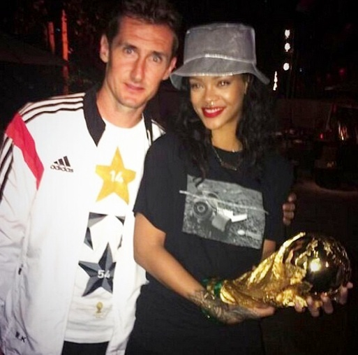 Rihanna with the record breaking man- Miroslav Klose
