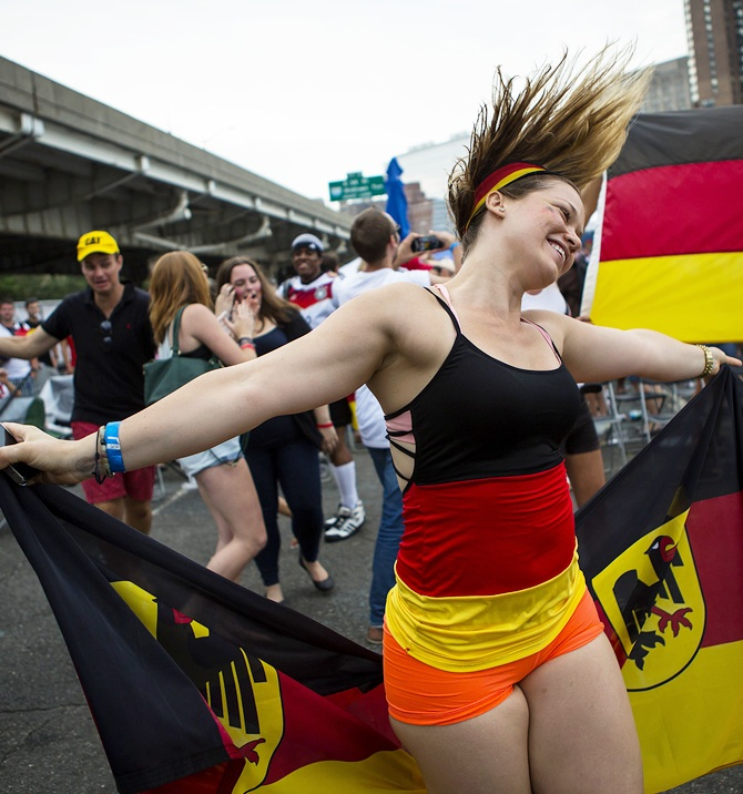 Soccer fans gather to watch the World Cup final match between Germany and Argentina