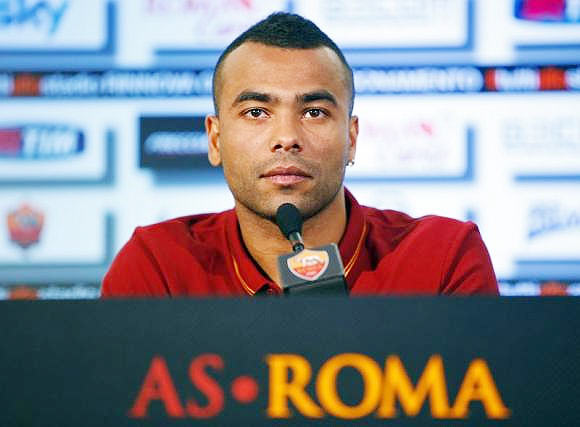 AS Roma's new player Ashley Cole attends a news conference for his presentation at the team's training centre in Rome