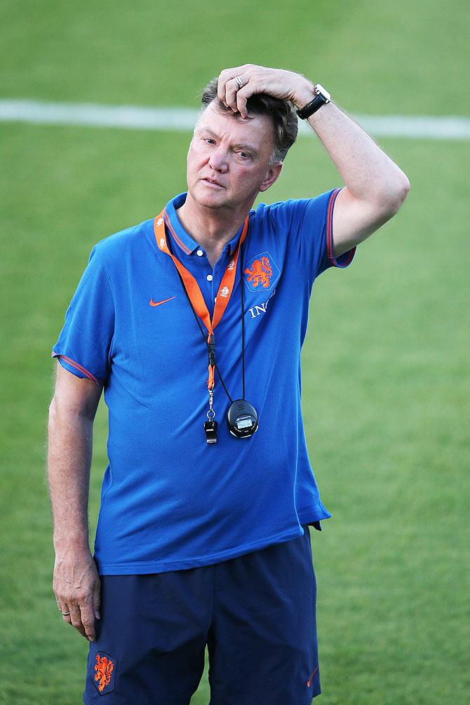 Head coach Louis van Gaal looks on