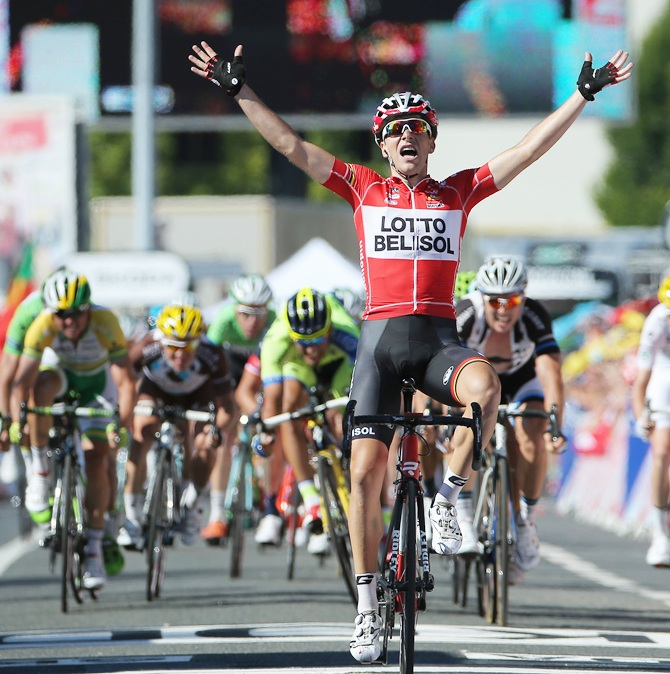 Tony Gallopin of France and Lotto Belisol celebrates as his solo breakaway eludes   the peloton in the final meters to win the eleventh stage of the 2014 Tour de France