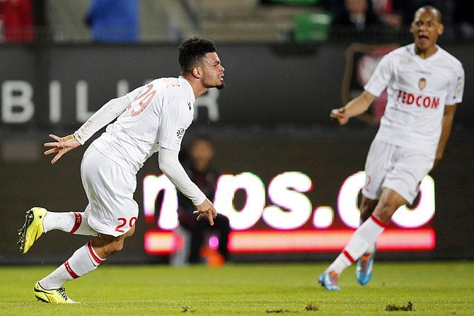 AS Monaco's Emmanuel Riviere celebrates