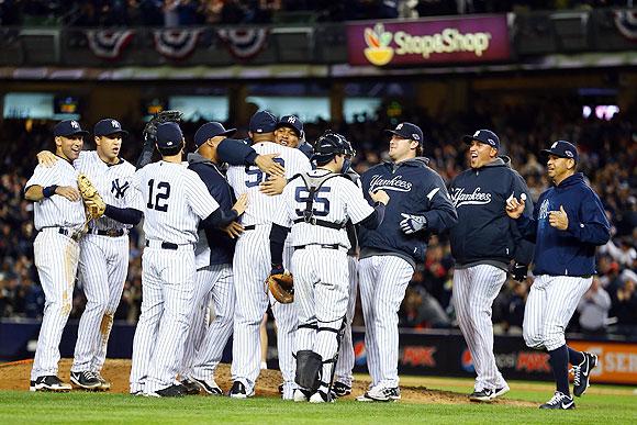 The New York Yankees celebrate